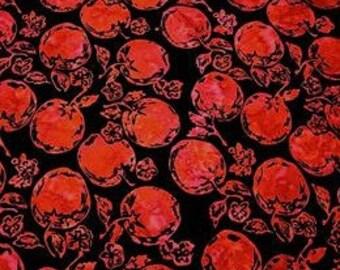 Hoffman Bali Batik - Black & Red Apples Fabric