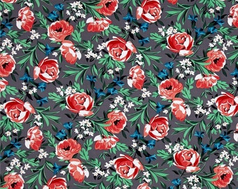 SALE Bed of Roses Pearl by Michael Miller - Gray Coral Green Lily Flowers Floral - Quilting Cotton Fabric - by the yard or half yard