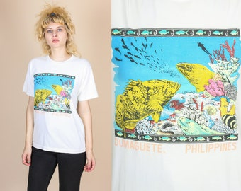 80s Philippines T Shirt - Mens Small // Vintage Dumaguete Graphic Travel Tee