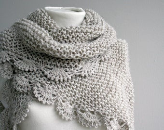 Handknit Beige Triangle Midi Shawl - scarf - collar - Capelet - Cowl - Christmas in July promotion