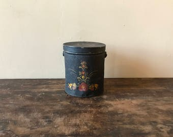 Tin Pail With Painted Folk Decoration, American, Late 19th Century