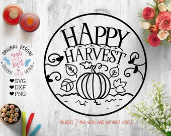 Happy Harvest Cut File in SVG, dxf, PNG, Happy Harvest Printable, Farmer's Cut File, Farm Printable, Pumpkin Cut File, Pumpkin Printable