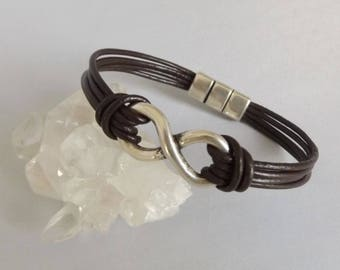 Mens infinity leather bracelet, infinity for men, infinity jewelry, infinity bracelet, leather bracelets, leather jewelry, husband gift