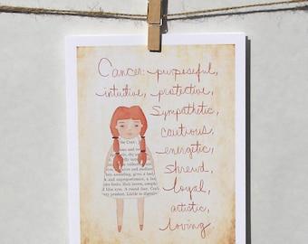 Cancer card Astrology card Zodiac card Astrological sign card