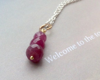 Trio Ruby pendant, ruby necklace, Birthstone Necklace, Birthstone Pendant, July birthstone, sterling silver, gold filled, natural gemstone,