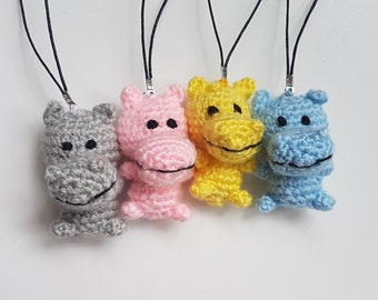 Birthday party favors Baby shower party favors Crochet keychain Hippo gift Crochet Bag Charm hippopotamus stuffed animal Small Children Gift