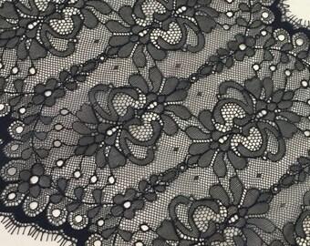 Black Lace Trim, Chantilly Lace, French Lace, Bridal lace, Wedding Lace, Scalloped lace Eyelash lace Floral Lace MM00055