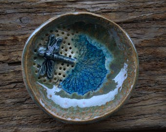 Dragonfly Dish, Soap Holder, Porcelain Bowl, Pottery Bowl, Trinket Dish, Spoon Rest , Emerald Glass Dish, Ring Dish, Air Plant Holder