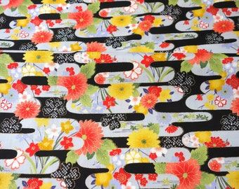 Kimono print Japanese fabric floral print   50  cm by 108 cm or 19.6 by 42 inches