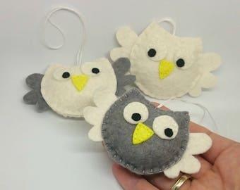 Felt owl ornament pack - set of 3 - white grey handmande felt ornaments - Christmas home decor - Nursery decoration - for Valentine's day