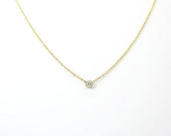 Dainty Thin Round Diamond Necklace  ~ Gold Diamond Pendant ~ Simple Minimalist Diamond Necklace ~ Petite Diamond  Necklace