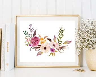 Home decor watercolor print flowers  nursery wall art print wild nature print watercolor poster botanical print botanical art  bouquet art