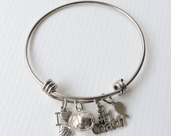 NETBALL CHARM BRACELET - stainless steel bracelet with four netball charms - I love netball, netball, No 1 coach, whistle - coaches gift