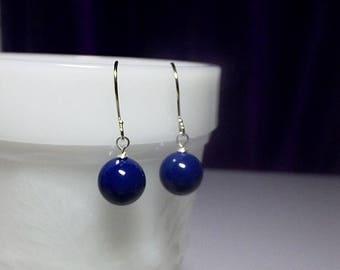 Lapis Blue Earrings, Pearl Earrings, Dangle Drop Earrings, Minimalist Earrings, Birthday Gifts for Her, Bridesmaid Gift, Christmas Gift, Mom