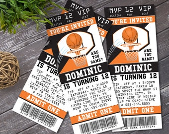 Basketball Ticket Invitation - Basketball Birthday Party, Ticket Invite, Self-Editing | DIY Editable Text INSTANT DOWNLOAD Printable