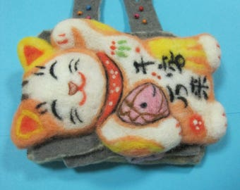 Needle felted animals Wool felted toys Purse that brings good luck Wallet Fantasy animals Cat of luck Accessory Maneki-neko Eco friendly art