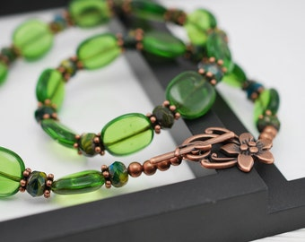 Green Copper Necklace, Green Beaded Necklace, Beaded Necklace, Copper Necklace, Green Necklace, Boho Necklace, Czech Glass, Gift for Her