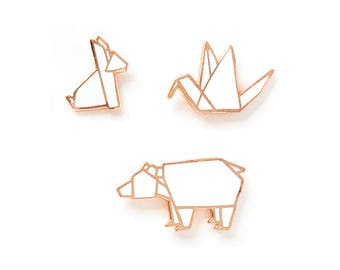 Origami Tiere - harte Emaille Pin 3er Set