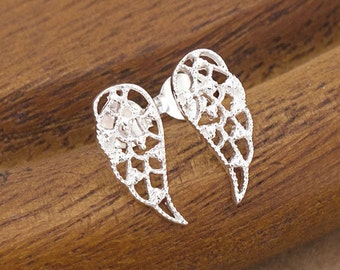 1 pair of 925 Sterling Silver Tiny Angel Wing Stud Earrings 6x14mm.  Polish finished :er1043