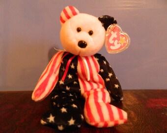 "TY Red White & Blue Bear Beanie Baby ""Spangle"" (J)"