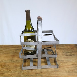 Vintage French Wine Carrier. Metal & Wood 4 compartment beverage holder Carrier. Rustic, Industrial Decor, Urban Farmhouse.