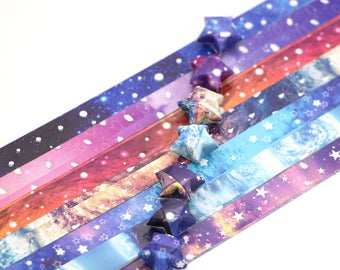 Galaxy Stars Origami Lucky Star Paper Strips Rainbow Multicolor DIY - Pack of 35 Strips