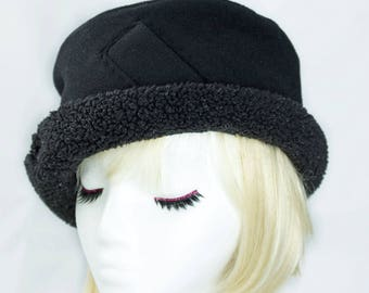Black Cloche Hat | Womens Black Wool Hat | Formal Winter Brim Hat | Black Wool Hat | Cuffed Beanie Fleece Lined | Soft Warm Winter Hat