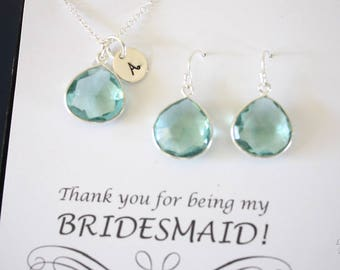 Monogram Bridesmaid Necklace and Earring set Mint, Bridesmaid Gift, Light Mint Quartz, Sterling Silver, Initial Jewelry, Personalized