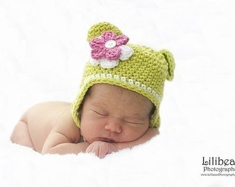 Crochet Monkey Hat with detachable flowers and braids Handmade by AngelsChest - Photography Prop - Sizes Newborn, baby, toddler, teen, Adult