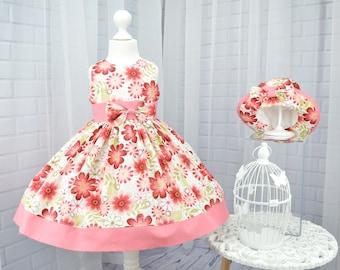 Little Girl Dress, Girls Dress and Hat, Baby Twirl dress, Toddler Twirl Dress, Girls Twirl Dress, Pink Party Dress, Flower Girl Dress