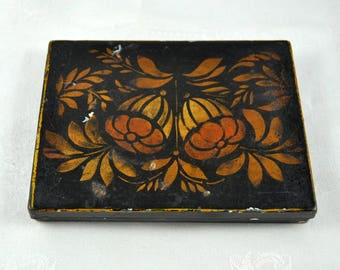 Tole painted box, tin keepsake box