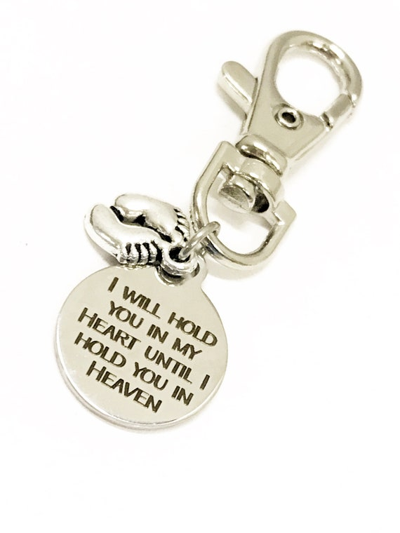 Pregnancy Loss Memorial Gift, Sympathy Gift, Miscarriage Memorial Gift, Hold You In My Heart Bag Charm, Zipper Charm, Child Loss Purse Charm