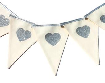Heart bunting - wedding bunting - glitter bunting - wedding decorations - heart garland - heart banner - fabric wedding bunting