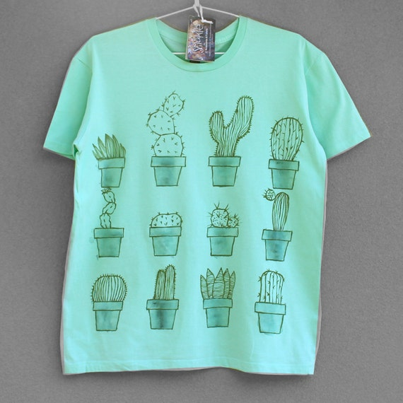 XL CACTUS. 100% cotton T shirt. Hand painted. Mint green tshirt. Cactus tee. Unique t shirts. Nice tees.