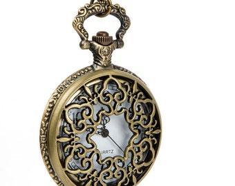 "1 Piece Filligree Flower Necklace Watch/Pocket Watch / Watch Size- 47mm (1.85"") /Chain Length- 80cm (0.87 yard)"