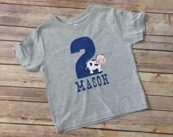 Cow birthday shirt - Farm Birthday Shirt - Toddler Birthday Shirt - Second birthday shirt - PICK YOUR NUMBER!