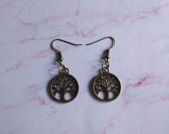 Bronze Plated Tree of Life Earrings - Dangle and Drop Earrings