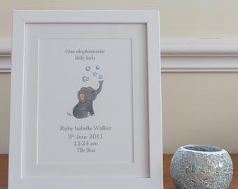Personalised nursery print- framed
