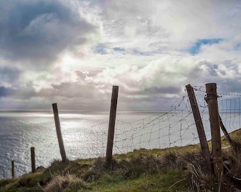 Ireland Photography, Irish Sheep Fence, The Dingle Peninsula, Country Kerry, Large Wall Art