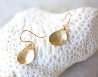 Gold Earrings, Hammered Brass Earrings, Organic Gold Teardrop Earrings, Gold Dangle Earrings, Brass Leaf Earrings, Petal Earrings