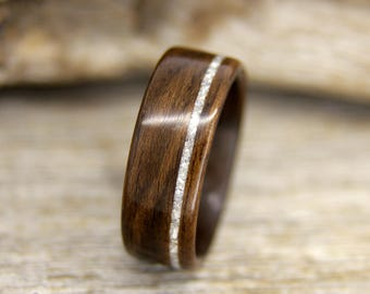 Bentwood Ring - Ziricote Wooden Ring with Offset Mother of Pearl Inlay - Handcrafted Wood Wedding Ring - Custom Made