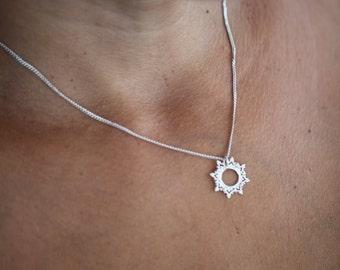READY TO SHIP La Dentelle sun silver necklace.
