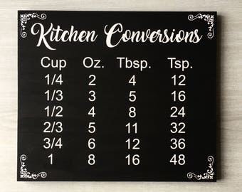 Kitchen Conversions / Kitchen Measurements / Cooking Conversions / Kitchen Chart Sign / Kitchen Wood Sign / Kitchen Equivalents