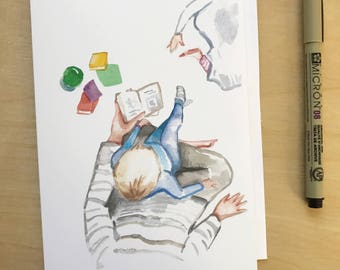 Mother reading, 5x7 card, Ready to Ship greeting card