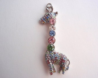 1 Giraffe Pendant, Jewelry Making Supply, Mulit color Imitation Austrian Crystal Rhinestones, set in Silver Color Plated Brass