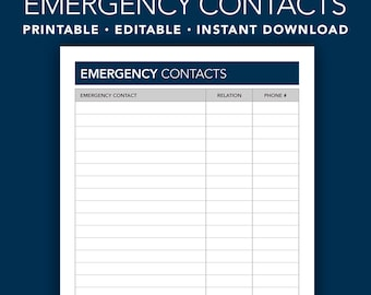 Editable Emergency Contacts - Emergency Contacts Form - Emergency Contacts List - Printable - Editable - Nursing for the Soul