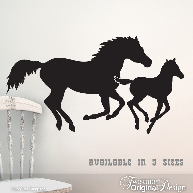 Galloping Horses Vinyl Wall Art Mare And Foal Horse Wall