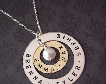 Grandmother Necklace - Hand Stamped Jewelry - Personalized Necklace - Surrounded By Love Sterling and Brass DOUBLE WASHER necklace