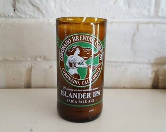 Upcycled 12oz Craft Beer Bottle- Unscented Soy Candle- Islander IPA