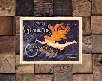Cycles Gladiator Vintage Bicycle Ad, Vintage Bicycle Ad, Vintage Art, Orange Hair Cycles Ad, Giclee Art Print, fine Art Reproduction
